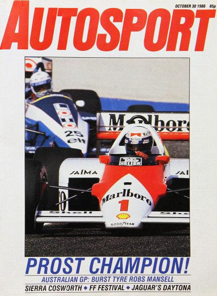 Cover of Autosport magazine, 30th October 1986
