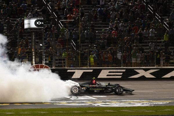 Josef Newgarden, Team Penske Chevrolet celebrates the win with a burn out