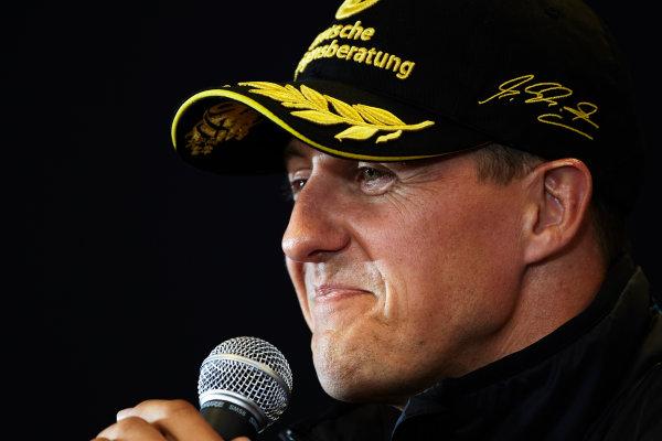 Spa-Francorchamps, Spa, Belgium 25th August 2011. Michael Schumacher, Mercedes GP W02, in the Thursday press conference. Portrait. Press Conferences.  World Copyright: Steve Etherington/LAT Photographic ref: Digital Image SNE29537