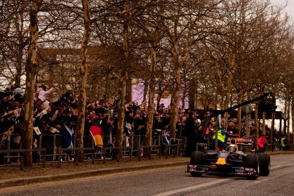 Milton Keynes.  Saturday 10th December 2011.Sebastian Vettel, Red Bull Racing RB7 Renault in action during the Red Bull Racing home run.Photo: Alastair Staley/LAT Photographic.Ref: Digital Image _O9T5156 jpg