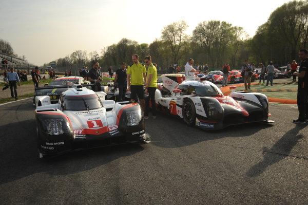 2017 FIA World Endurance Championship, 31st March - 2nd April, 2017, Monza Prologue, 1 Neel Jani (CHE) \ Andr? Lotterer (DEU) \ NickTandy (GBR) - PORSCHE LMP TEAM - Porsche 919 Hybrid andAnthony Davidson (GBR) \ Kazuki Nakajima (JPN) - TOYOTA GAZOO RACING - Toyota TS050 ? Hybrid World Copyright: JEP/LAT Images.