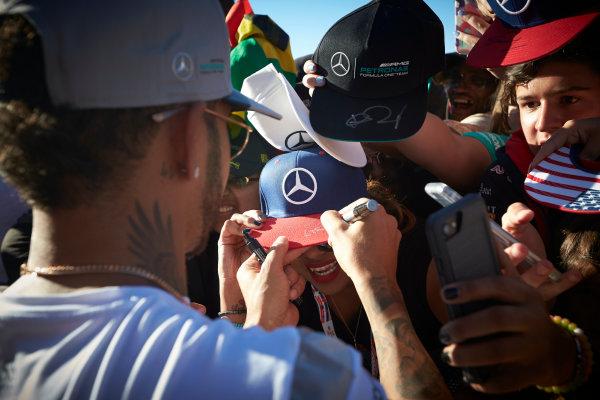 Circuit of the Americas, Austin Texas, USA. Saturday 22 October 2016. Lewis Hamilton, Mercedes AMG, signs autographs for fans. World Copyright: Steve Etherington/LAT Photographic ref: Digital Image SNE19935