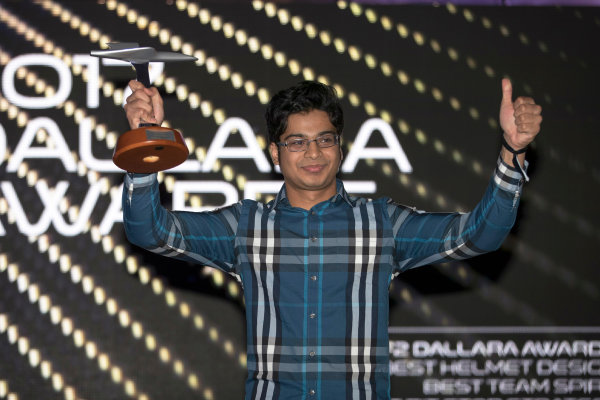 2017 Awards Evening. Yas Marina Circuit, Abu Dhabi, United Arab Emirates. Sunday 26 November 2017. Arjun Maini (IND, Jenzer Motorsport).  Photo: Zak Mauger/FIA Formula 2/GP3 Series. ref: Digital Image _56I3764