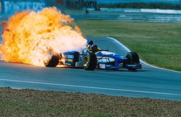 An open fuel valve on Pedro Diniz's Ligier caused the car to burst into flames Argentine GP, Buenos Aires, 7 April 1996