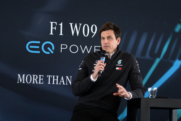 Mercedes-AMG F1 W09 EQ Power+ Launch and First Run Silverstone, England, 22 February 2018. Toto Wolff (AUT) Mercedes AMG F1 Director of Motorsport World Copyright: Simon Galloway/Sutton Images/LAT Images Photo ref: SUT_Mercedes_AMG_F_1567639