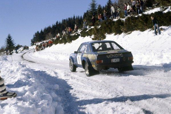1981 World Rally Championship.Monte Carlo Rally, Monaco. 24-30 January 1981.Bjorn Waldegaard/Hans Thorszelius (Ford Escort RS1800), 8th position.World Copyright: LAT PhotographicRef: 35mm transparency 81RALLY21