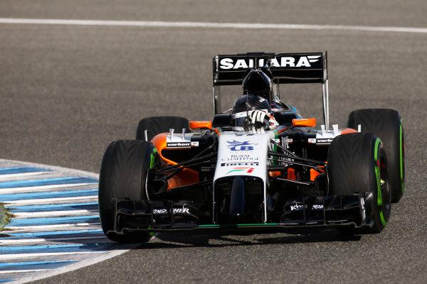 2014 F1 Pre Season Test 1 - Day 1 Circuito de Jerez, Jerez, Spain. Tuesday 28 January 2014. Sergio Perez, Force India VJM07 Mercedes. World Copyright: Glenn Dunbar/LAT Photographic. ref: Digital Image _W2Q6232.JPG