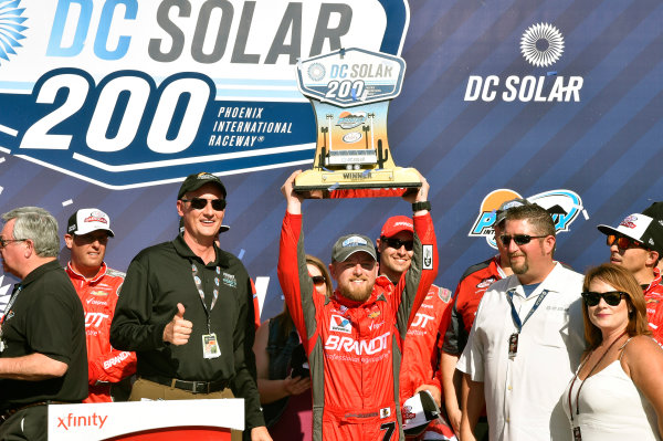 2017 NASCAR Xfinity Series DC Solar 200 Phoenix International Raceway, Avondale, AZ USA Saturday 18 March 2017 Justin Allgaier celebrates his win in Victory Lane World Copyright: Nigel Kinrade/LAT Images ref: Digital Image 17PHX1nk06456