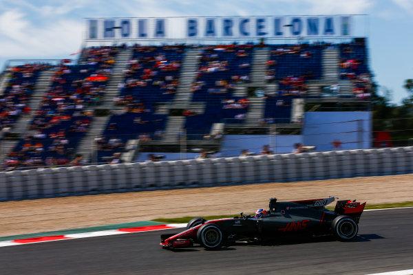Circuit de Catalunya, Barcelona, Spain. Saturday 13 May 2017. Romain Grosjean, Haas VF-17. World Copyright: Andy Hone/LAT Images ref: Digital Image _ONZ4965