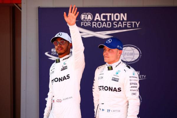Circuit de Catalunya, Barcelona, Spain. Saturday 13 May 2017. Lewis Hamilton, Mercedes AMG, celebrates taking Pole Position with Valtteri Bottas, Mercedes AMG. World Copyright: Andy Hone/LAT Images ref: Digital Image _ONY5096