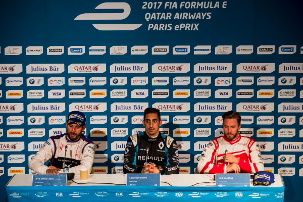 2016/2017 FIA Formula E Championship. Qatar Airways Paris ePrix, France. Saturday 20 May 2017. Jose Maria Lopez (ARG), DS Virgin Racing, Spark-Citroen, Virgin DSV-02Sebastien Buemi (SUI), Renault e.Dams, Spark-Renault, Renault Z.E 16, and Nick Heidfeld (GER), Mahindra Racing, Spark-Mahindra, Mahindra M3ELECTRO, in the press conference. Photo: Zak Mauger/LAT/Formula E ref: Digital Image _56I4141