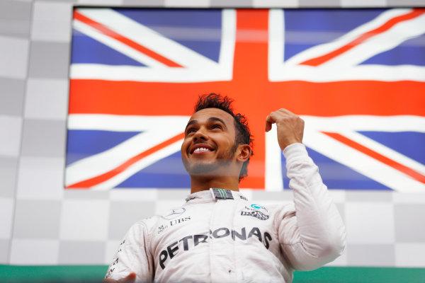 Circuit Gilles Villeneuve, Montreal, Canada. Sunday 12 June 2016. Lewis Hamilton, Mercedes AMG, 1st Position, celebrates on the podium. World Copyright: Steven Tee/LAT Photographic ref: Digital Image _H7I5936
