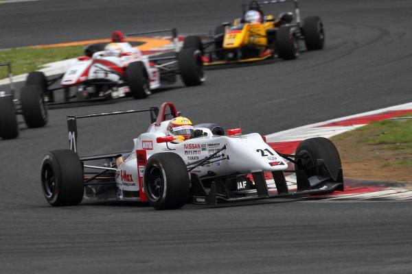 2016 Japanese Formula 3 Championship Fuji, Japan. 14th-15th May 2016. Rd 3 & 4. Rd 3 Winner Daiki Sasaki  ( #21 B-MAX NDDP F3 ). World Copyright: Hideaki Kobayashi/LAT Ref: 2016JF3_Rd3&4_01