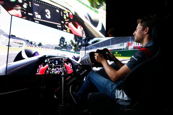 Circuit Gilles Villeneuve, Montreal, Canada. Wednesday 7 June 2017. Romain Grosjean, Haas F1 drives a lap of the Circuit Gilles Villeneuve on a simulator. World Copyright: Hone/LAT Images ref: Digital Image _ONZ1058