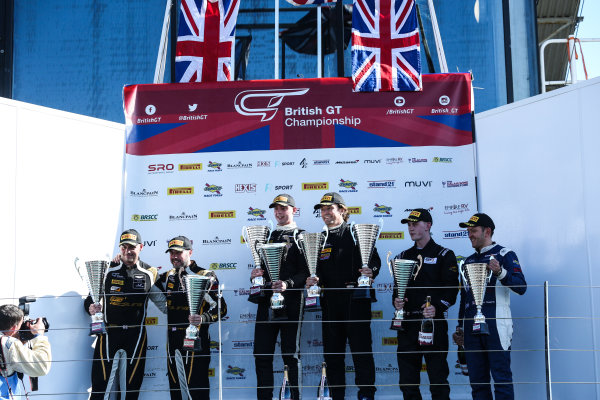 2017 British GT Championship, Silverstone, 11th-12th June 2017, GT4 Podium (l-r) Matt Nicoll-Jones / Will Moore - Academy Motorsport - Aston Martin Vantage GT4, Adam Balon / Adam Mackay - track-club - McLaren 570S GT4, Marcus Hoggarth / Matty Graham - In2Racing - McLaren 570S GT4. World copyright. JEP/LAT Images
