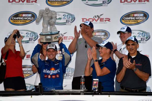 NASCAR Camping World Truck Series Bar Harbor 200 Dover International Speedway, Dover, DE USA Friday 2 June 2017 Johnny Sauter, Allegiant Airlines Chevrolet Silverado celebrates his win in Victory Lane World Copyright: Nigel Kinrade LAT Images ref: Digital Image 17DOV1nk06858