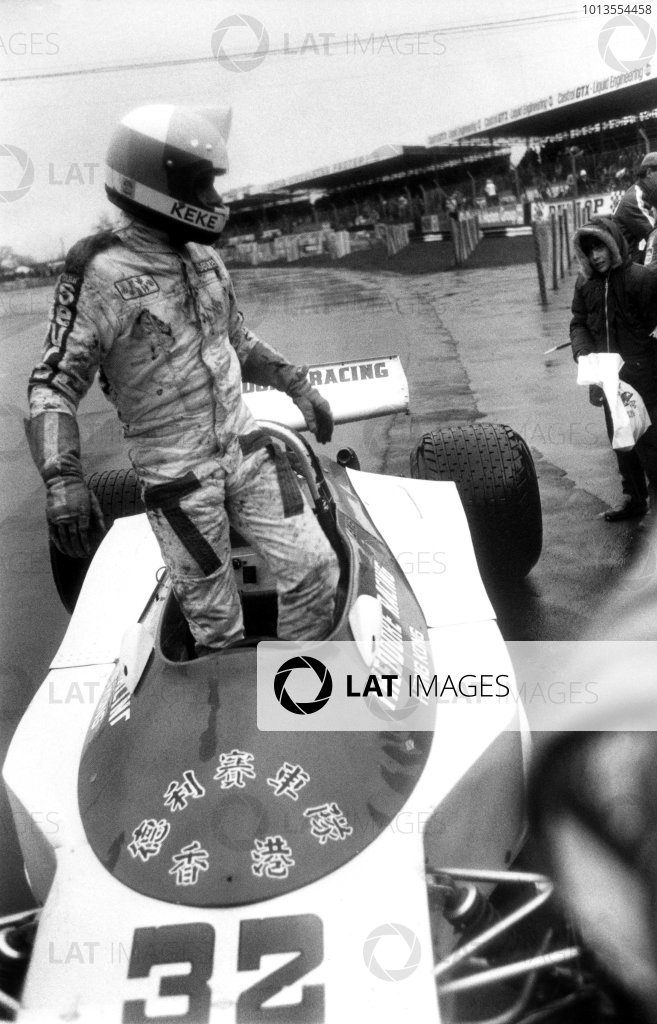 Silverstone, England. 19th March 1978.Keke Rosberg (Theodore Racing Ralt TR1-Cosworth), 1st position, his first victory in a Formula One car in only his second ever Formula One race. Portrait.World Copyright: LAT Photographic.Ref:  B/W Print.