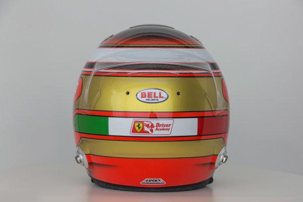 Hinwil, Switzerland. Thursday 29 January 2015. Helmet of Raffaele Marciello, Test and Reserve Driver, Sauber.  World Copyright: Sauber F1 Team (Copyright Free FOR EDITORIAL USE ONLY) ref: Digital Image 2015_SAUBER_HELMET_19