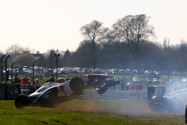 2015 BRDC Formula 4 Championship, Oulton Park, Cheshire. 4th - 6th April 2015. Sebastian Lanzetti (RSA) Hillspeed BRDC F4 crashes. World Copyright: Ebrey / LAT Photographic.