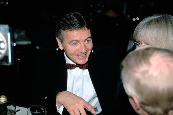 2003 Autosport AwardsGrosvenor Hotel, London, EnglandTony Jardine talks with Annie Bradshaw (Williams Press office). Portrait.World Copyright: Bloxham/LATref: 35mm Transparency (30mb scan)