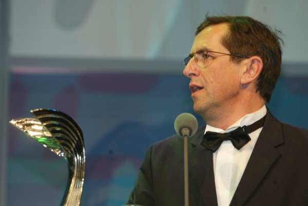 2003 AUTOSPORT AWARDS, The Grosvenor, London. 7th December 2003.Citroen sporting manager, Francois Chatriot collects the award for Rally Car of the year. Photo: Peter Spinney/LAT PhotographicRef: Digital Image only