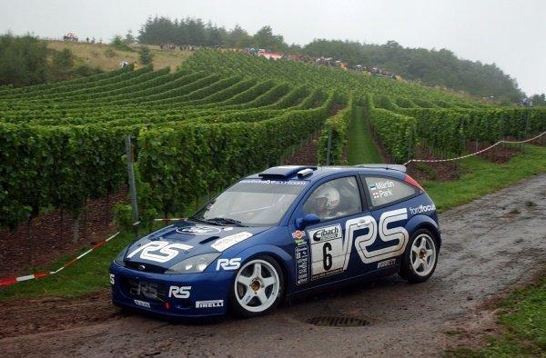 Markko Martin (EST) Ford Focus WRC RS 02.World Rally Championship, Rd10, Shakedown, ADAC Rallye Deutschland, Trier, Germany. 22 August 2002.DIGITAL IMAGE
