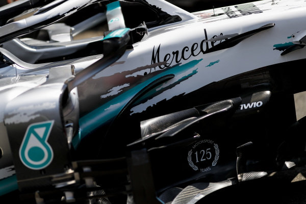 Mercedes AMG F1 W10 with special 125th year in motorsport livery