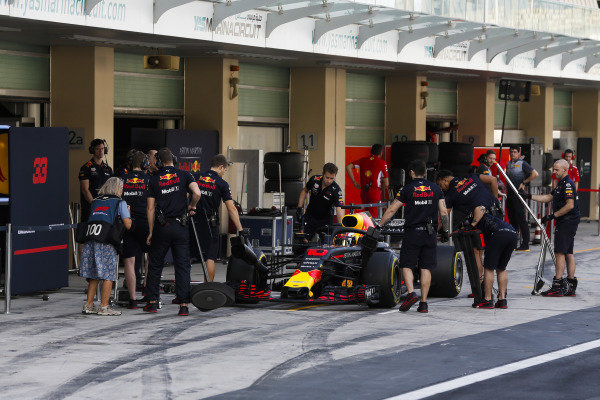 Pierre Gasly, Red Bull Racing RB14, stops in his pit area.