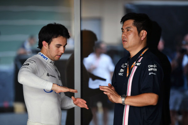 Sergio Perez, Racing Point Force India and Jun Matsuzaki, Force India F1 Team Senior Tyre Engineer