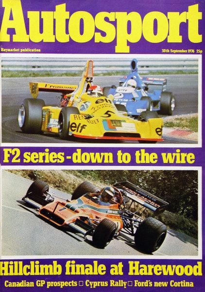 Cover of Autosport magazine, 30th September 1976