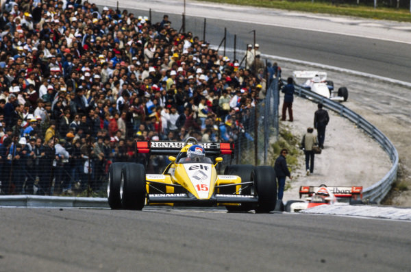 Patrick Tambay, Renault RE50, leads Niki Lauda, McLaren MP4-2 TAG.