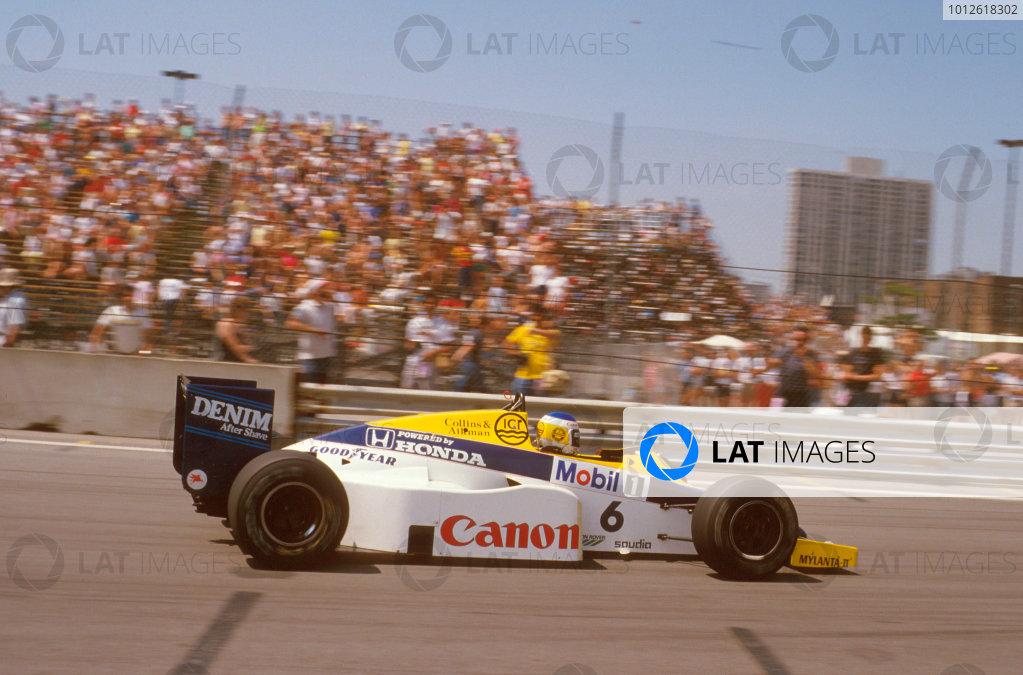 Detroit, Michigan, U.S A.21-23 June 1985.Keke Rosberg (Williams FW10 Honda) 1st position.Ref-85 USA 13.World Copyright - LAT Photographic