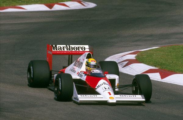 Imola, Italy.21-23 April 1989.Ayrton Senna (McLaren MP4/5 Honda) 1st position at the Alta Chicane.Ref-89 SM 10.World Copyright - LAT Photographic
