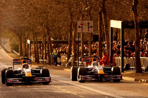 Milton Keynes.  Saturday 10th December 2011.Sebastian Vettel, Red Bull Racing RB7 Renault and Mark Webber, Red Bull Racing RB7 Renault. Photo: Alastair Staley/LAT Photographic.Ref: Digital Image _O9T5363 jpg