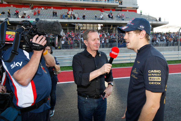 Circuit of the Americas, Austin, Texas, United States of America. Sunday 18th November 2012. Sebastian Vettel, Red Bull Racing, is interviewed by Martin Brundle, Commentator, Sky Sports F1, after the race. World Copyright:Alastair Staley/  ref: Digital Image _MG_7944