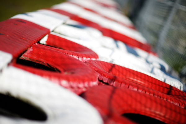 Circuit Gilles Villeneuve, Montreal, Canada. Thursday 4 June 2015. Tyre wall. World Copyright: Alastair Staley/LAT Photographic. ref: Digital Image _79P8377