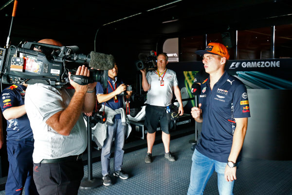Spa Francorchamps, Belgium.  Thursday 24 August 2017. Max Verstappen, Red Bull Racing, is interviewed in the Gamezone. World Copyright: Andy Hone/LAT Images  ref: Digital Image _ONZ8518