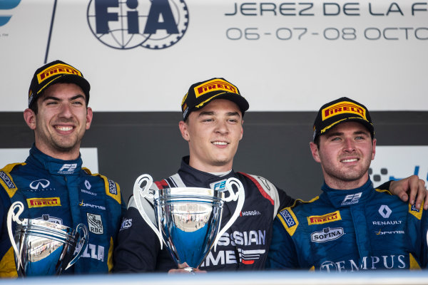 2017 FIA Formula 2 Round 10. Circuito de Jerez, Jerez, Spain. Sunday 8 October 2017. Nicholas Latifi (CAN, DAMS), Artem Markelov (RUS, RUSSIAN TIME), Oliver Rowland (GBR, DAMS) on the podium. Photo: Andrew Ferraro/FIA Formula 2. ref: Digital Image _FER3731