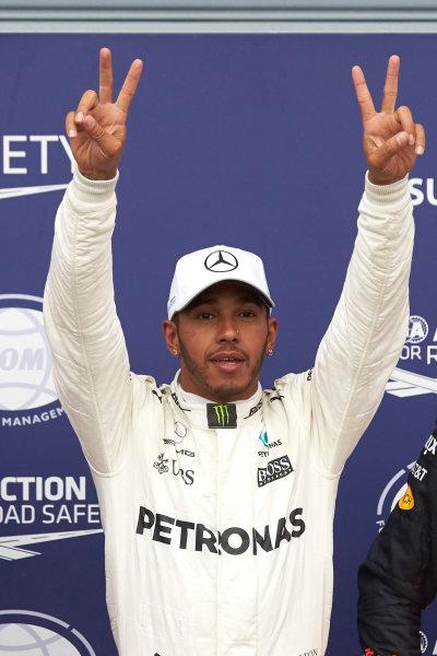 Autodromo Nazionale di Monza, Italy. Saturday 2 September 2017. Lewis Hamilton, Mercedes AMG, celebrates his record breaking 69th F1 career pole start. World Copyright: Steve Etherington/LAT Images  ref: Digital Image SNE15093