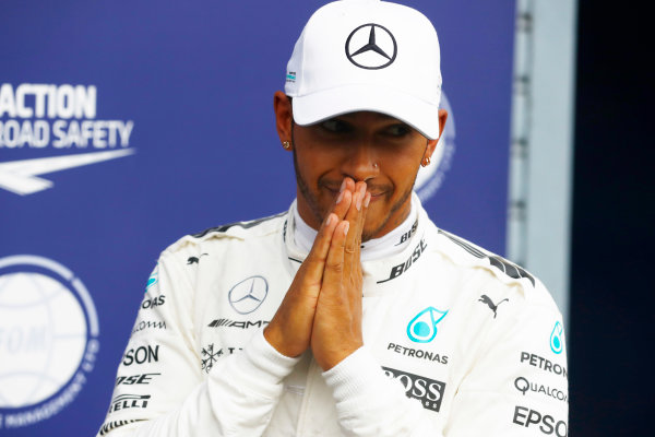 Autodromo Nazionale di Monza, Italy. Saturday 02 September 2017. Lewis Hamilton, Mercedes AMG, celebrates after taking his 69th F1 Pole Position. World Copyright: Steven Tee/LAT Images  ref: Digital Image _O3I6465