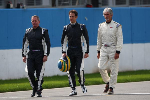 2014 British Formula 3 International Series, Media Day. Donington Park, Leicestershire. 8th April 2014. Martin Brundle (GBR), Bruno Senna (BRA) and Damon Hill (GBR)World Copyright: Jakob Ebrey / LAT Photographic