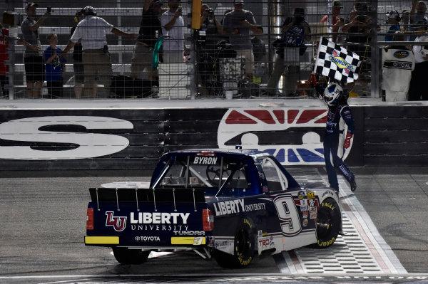 9-10 June, 2016, Fort Worth, Texas USA William Byron celebrates his win ? 2016, Nigel Kinrade LAT Photo USA