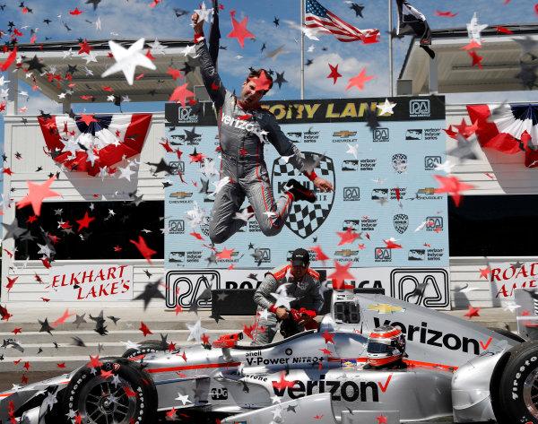 24-26 June, 2016, Elkhart Lake, Wisconsin, USA Will Power jumps in victory lane ??2016, Michael Levitt LAT Photo USA