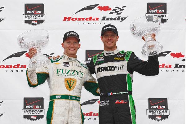 20 July, 2014, Toronto, Ontario CA Race 1 winner Sebastien Bourdais joins Race 2 winner Mike Conway on the podium ©2014, Phillip Abbott LAT Photo USA