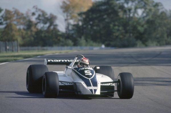 1980 United States Grand Prix.Watkins Glen, USA. 3-5 October 1980.Nelson Piquet (Brabham BT49-Ford Cosworth), retired.World Copyright: LAT PhotographicRef: 35mm transparency 80USA10
