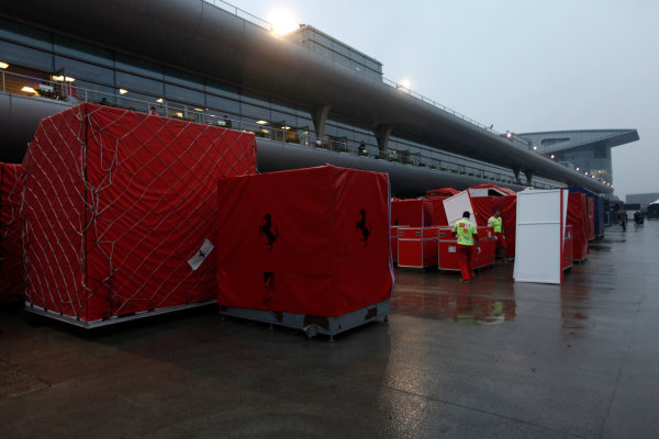 Shanghai International Circuit, Shanghai, China 18th April 2010 Ferrari equipment packed away and ready to be shipped. Detail. Atmosphere.  World Copyright: Andrew Ferraro /LAT Photographic ref: Digital Image _MG_9212