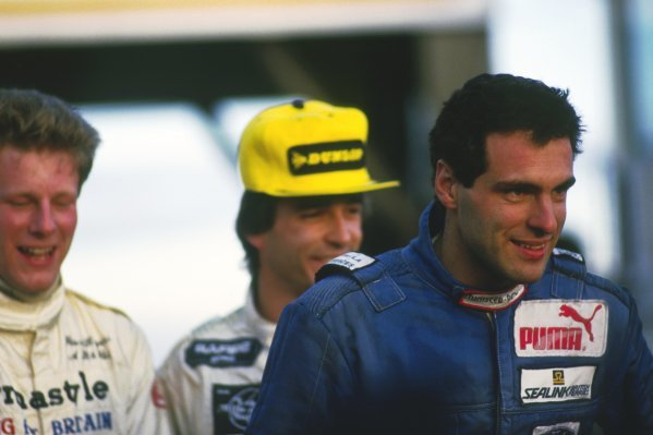 The podium finishers (L to R): Peter Rogers (GBR); Philippe Favre (SUI); Roland Ratzenberger (AUT) Van Diemen, race winner.