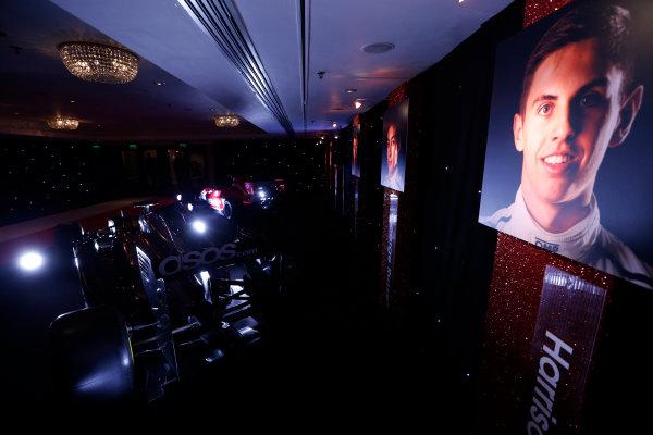 2014 Autosport Awards. Grosvenor House Hotel, Park Lane, London. Sunday 7 December 2014. McLaren F1 car and MSV Formula 2 car. World Copyright: Sam Bloxham/LAT Photographic. ref: Digital Image _14P3461