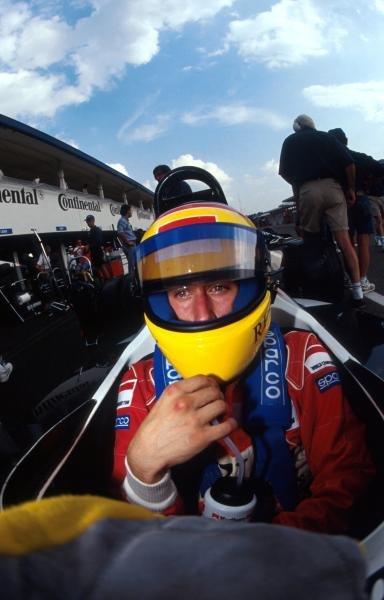 Race winner Luca Badoer (ITA) Team Crypton Reynard 92D Cosworth prepares himself for action. International Formula 3000 Championship, Hockenheim, Germany, 25 July 1992.