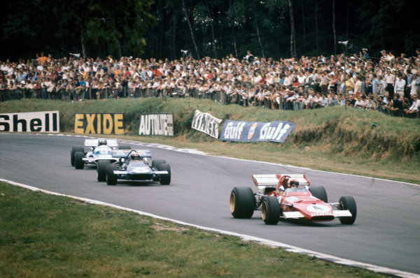 Brands Hatch, England. 16th - 18th July 1970.Clay Regazzoni (Ferrari 312B), 4th position, leads Jackie Stewart (March 701-Ford), retired, and Jean-Pierre Beltoise (Matra-Simca MS120), retired, action. World Copyright: LAT Photographic.Ref: 70GB51.